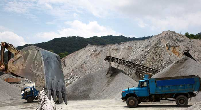excavator for sand plant